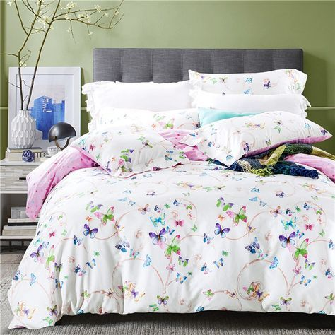 Cheap bedspread curtains, Buy Quality bedspreads king size beds directly from China bedspread set Suppliers: 2017 purple floral butterfly bedding  comforter sets cotton bed sheets bed linen cover bedspread