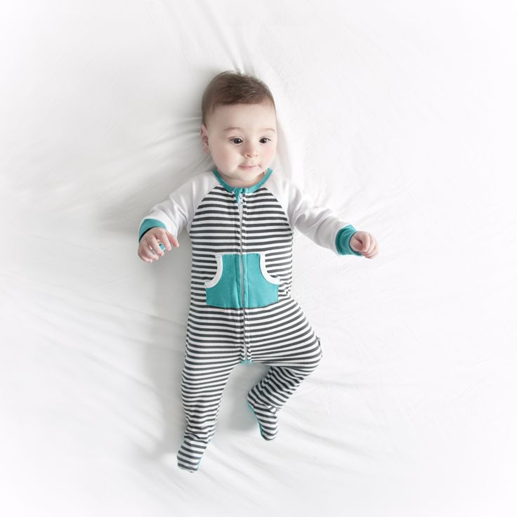 Baby Charcoal stripe Zip Growsuit Li'l Zippers AW15