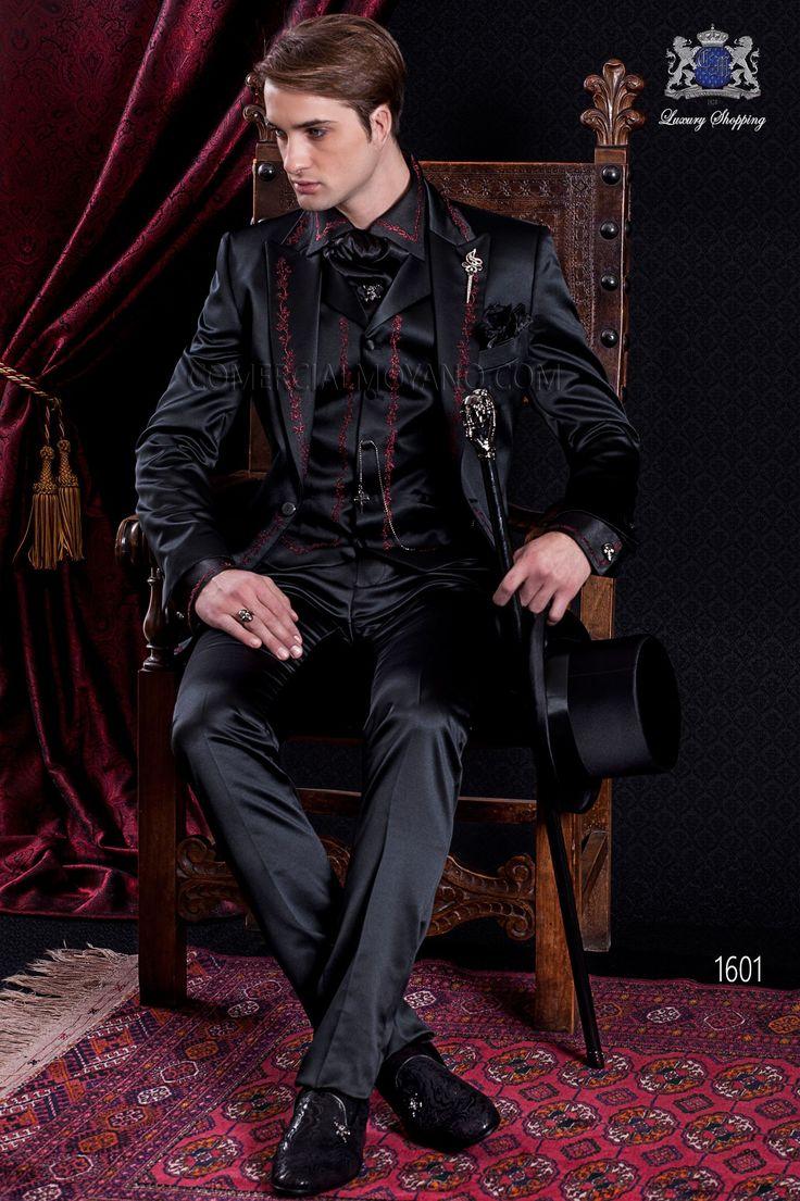 gotik schwarzer hochzeitsanzug aus satin mit steigendes revers und rot stickerei br utigam. Black Bedroom Furniture Sets. Home Design Ideas
