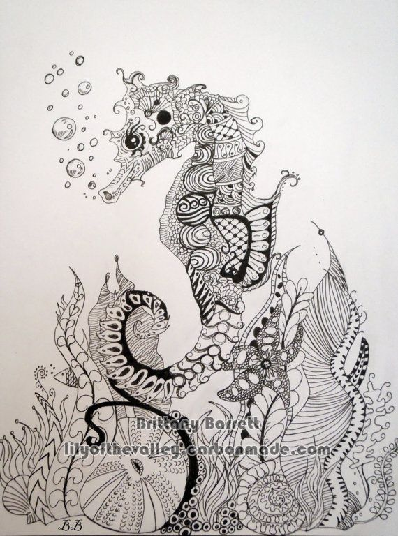 Seahorse Zentangle Design by LilyoftheValleyArt on Etsy, $15.00