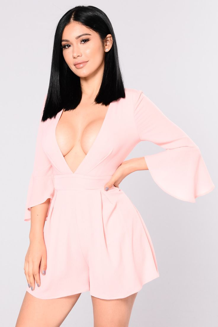 Available In Pink Mid Sleeve Romper V Neck Ruffle Trim Self: 95% Polyester 5% Spandex Lining: 100% Polyester
