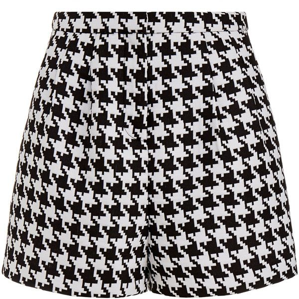Emma Cook Houndstooth High Waisted Shorts (£75) ❤ liked on Polyvore featuring shorts, bottoms, short, pants, multicolour, multi colored shorts, zipper shorts, emma cook, high waisted shorts and highwaist shorts