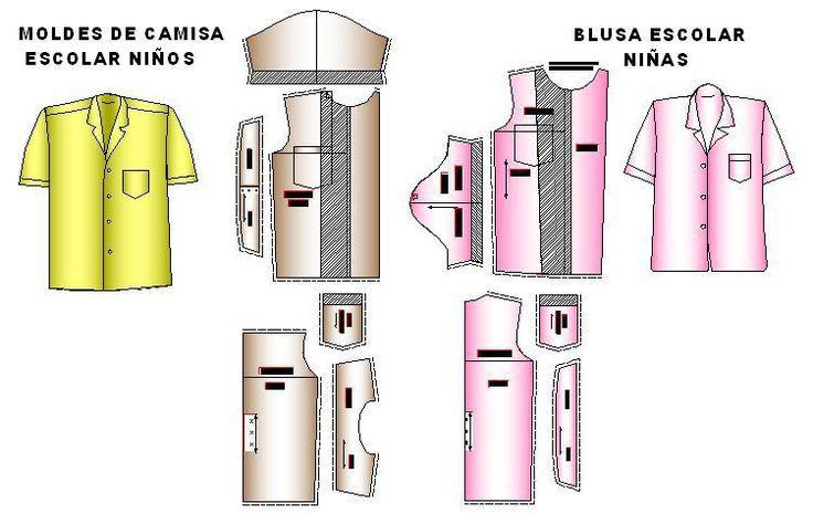 moldes de camisa y blusa_escolar en tallas 4 a 12 años