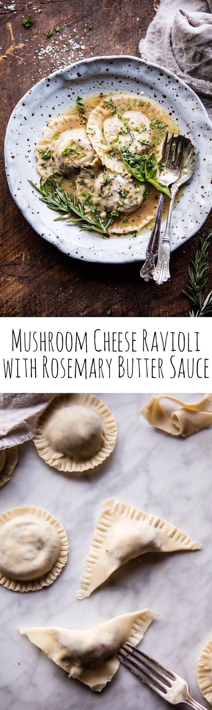 Mushroom Cheese Ravioli with Rosemary Butter Sauce | http://halfbakedharvest.com /hbharvest/