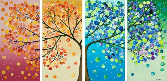 Pretty painted tree: Wall Art, Wall Decor, Trees Art, Idea, Treeart, Color, Trees Paintings, The Four Seasons, Art Projects