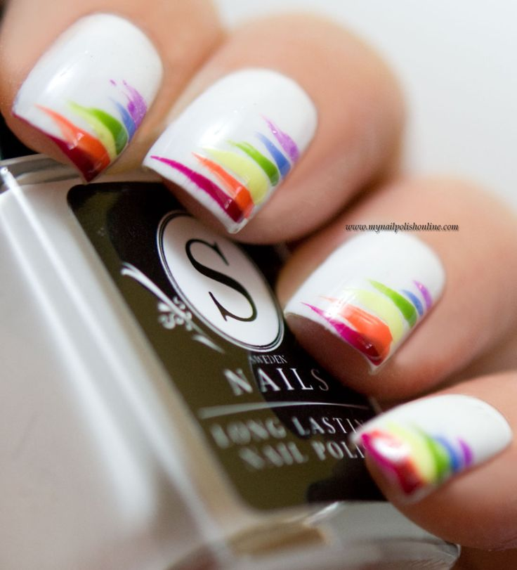 I kept it simple today: colored stripes on white. I think I've done all my rainbow  nails on white bases but they could have been done on black too. - Best 25+ Rainbow Nails Ideas On Pinterest Rainbow Nail Art