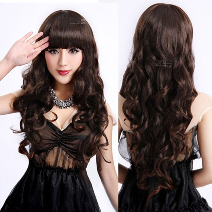 Ladies Long Curly Wavy Heat Resistant Cosplay Wig Women Natural As Real Hair Black Synthetic Wigs With Bangs Perucas Pelucas