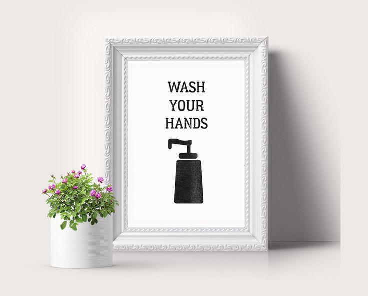 Lavar manos arte de pared de baño normas de baño signo de