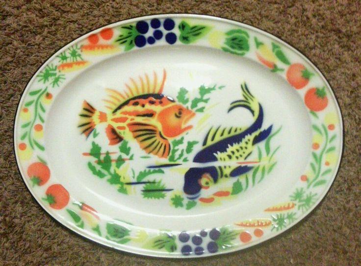 Vintage enamelware metal koi gold fish pond carp serving for Fish serving platter