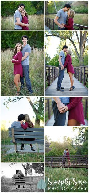 Outdoor Engagement Photo Session Ideas & Poses for Couples - Grassy Field - Kissing on a Bridge - Sitting on a Park Bench - Billings, MT Engagement Photographer