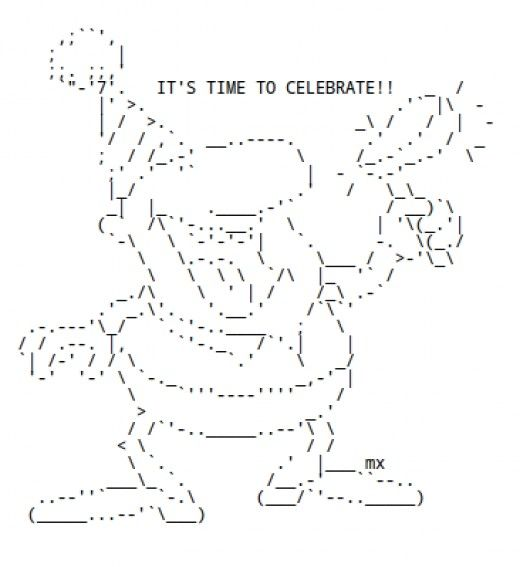 One Line Ascii Art Letters : Happy new year ascii text art holiday