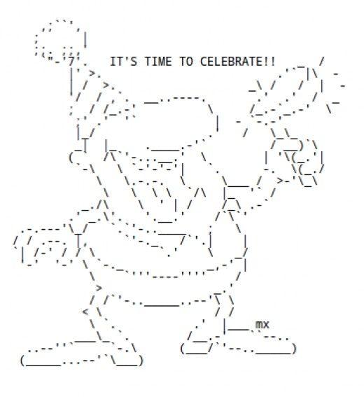 One Line Ascii Art New Year : Happy new year ascii text art holiday