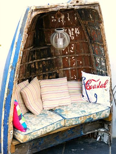 Boat Bench for the Garden! See all Top Boat Decor Ideas: http://www.completely-coastal.com/2013/04/boat-theme-decor.html