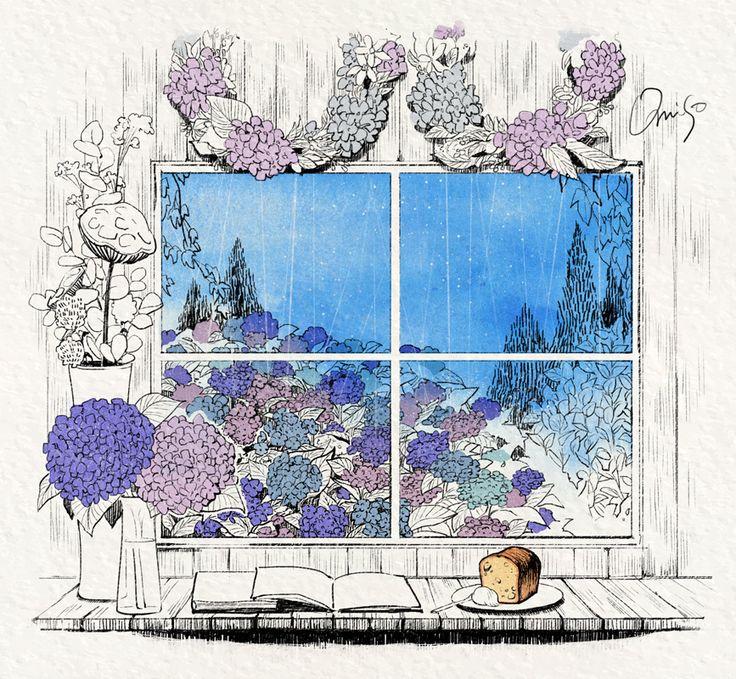 紫陽花の見える窓