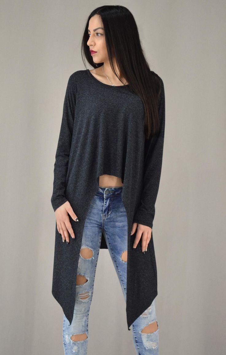 Γυναικεία μπλούζα ασύμμετρη με μύτες | Γυναίκα - Μπλούζες και Ανθρακί