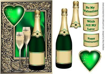 Celebration Wine Emerald - Valentine or Anniversary Card