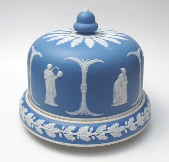 Rare Antique Victorian Wedgwood Jasperware Cheese Bell Dome Platter
