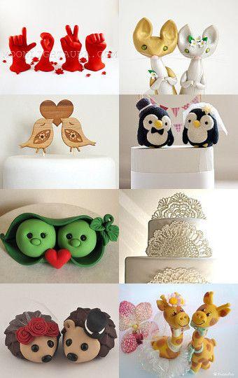 Unique Wedding Cake Toppers --Pinned with TreasuryPin.com #WeddingToppers #HandmadeWedding