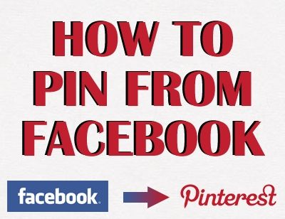 "How to Pin from Facebook onto Pinterest: 1. Install the ""Pin it""-Bookmarklet 2. Click on the Facebook picture you want to pin 3. Right-click and choose ""view image"" 4. Make sure the .jpg-URL is shown in your browsers address bar. 5. Pin it!"