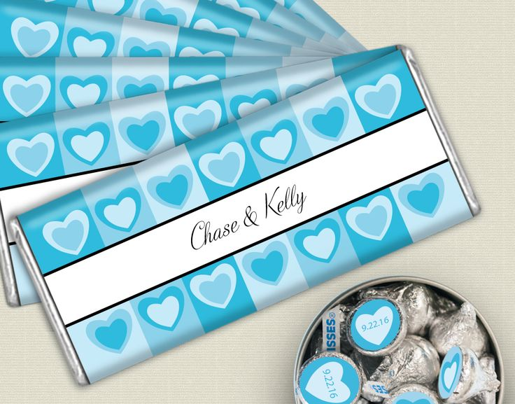 Aqua Heart Themed Wedding Favors: Personalized HERSHEY'S bars and customized stickers for KISSES candy for your wedding candy buffet