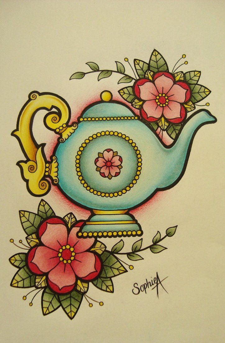 "teapot tattoo flash - I must have a teapot tattoo. ""I'm a Little Teapot,"" is my son's favorite song for me to sing to him. I would have to tweak this design and make it more American Traditional style and also include more masculine colors to represent my son."