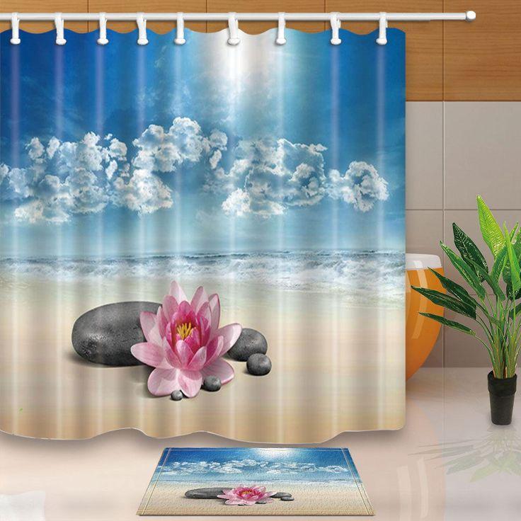 "Beach And Stone Flower Nature Shower Curtain Waterproof Fabric & 12 Hook 71"""