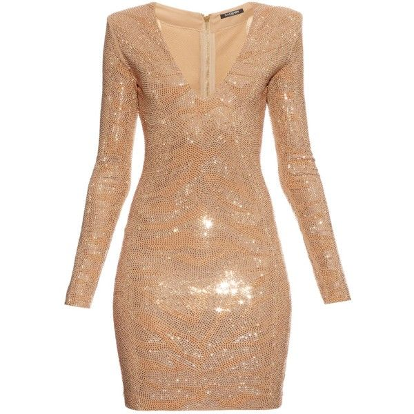 Balmain Long-sleeved glass stone-embellished dress ($2,922) ❤ liked on Polyvore featuring dresses, gold, embellished dress, long sleeve cocktail dress, night out dresses, long sleeve cocktail party dress and beige cocktail dress