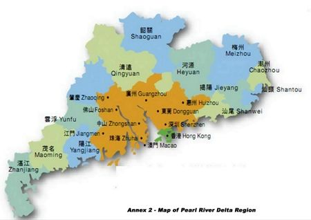 This map shows the location of the Pearl River Delta region in the centre of the Guangdong Province, China