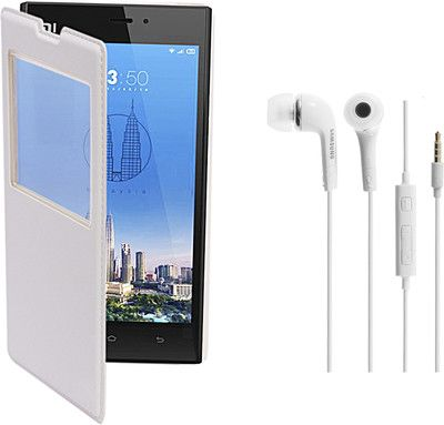 KolorEdge Flip Cover and Hands Free for Xiaomi Redmi 1S (KEGlflipRedmi1sWht+HF) Combo Set only for Rs. 570