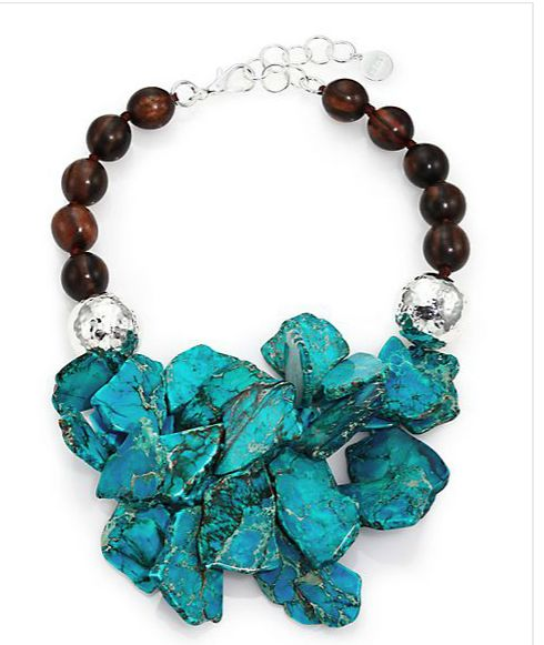 Nest Turquoise Jasper & Ebony Wood Cluster Beaded Statement Necklace - Available at saksfifthavenue.com