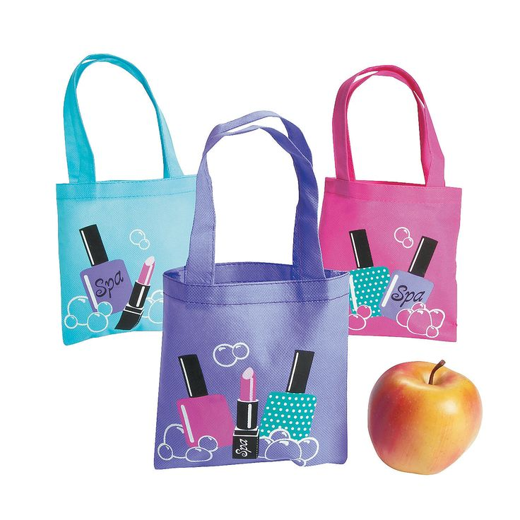 $6.75 for a dozen bags! Spa Party Mini Tote Bags - OrientalTrading.com