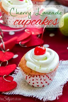 Cherry Limeade Cupcakes - Perfect for Valentines Day!