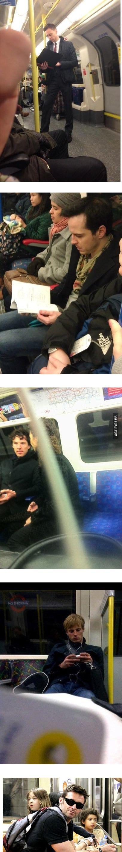 That's it, I am moving to London! ~ Tom Hiddleston (Loki), Andrew Scott (Moriarty), Benedict Cumerbatch (Sherlock), Bradley James (Arthur), Hugh Jackman (Wolverine)
