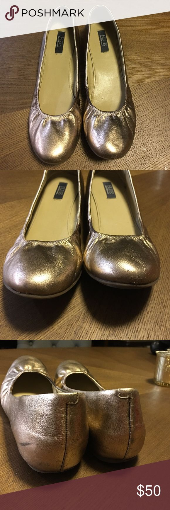 Rose Gold Ballet Flats Saks Fifth Avenue Blue Label. Gorgeous color. GUC; one scuff on back of left shoe (pictured), which is difficult to see. Other minor flaws pictured. Saks Fifth Avenue Shoes Flats & Loafers
