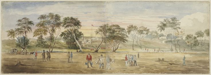 Two Wathawurrung people, one of them heavily laden with goods walk along what is now Main Road Ballarat, not far from Golden Point, presumably not long after the 1854 Eureka rebellion. The Red Coat soldier's camp can be seen in the background. 'Ballarat, Victoria, ca. 1854', Gill, Samuel Thomas, (1850), watercolour.