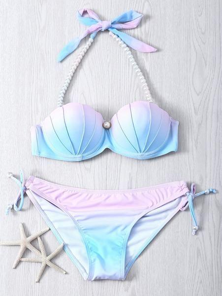 Pearl Halter Ombre Underwire Seashell Bikini Mermaid Swimwear