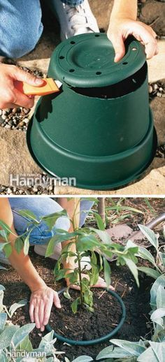 cut the bottom off of a plastic pot and bury it in the ground! Use it for invasive plants that tend to grow too large and take over your garden