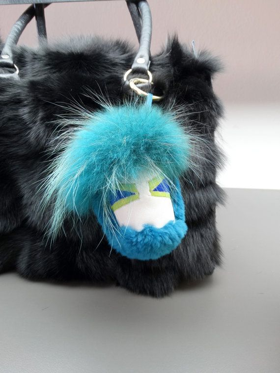 Blue monster charm monster keychain fur pom pom by FilimegasFurs