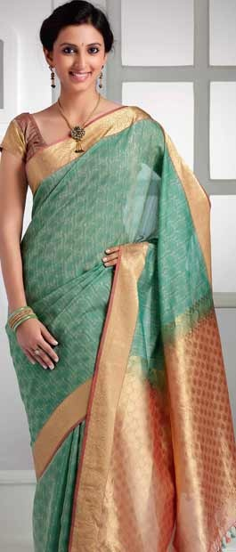 Sea #Green #Cotton #Silk #Saree with #Blouse @ $100.56 | Shop Here: http://www.utsavfashion.com/store/sarees-large.aspx?icode=skl1191