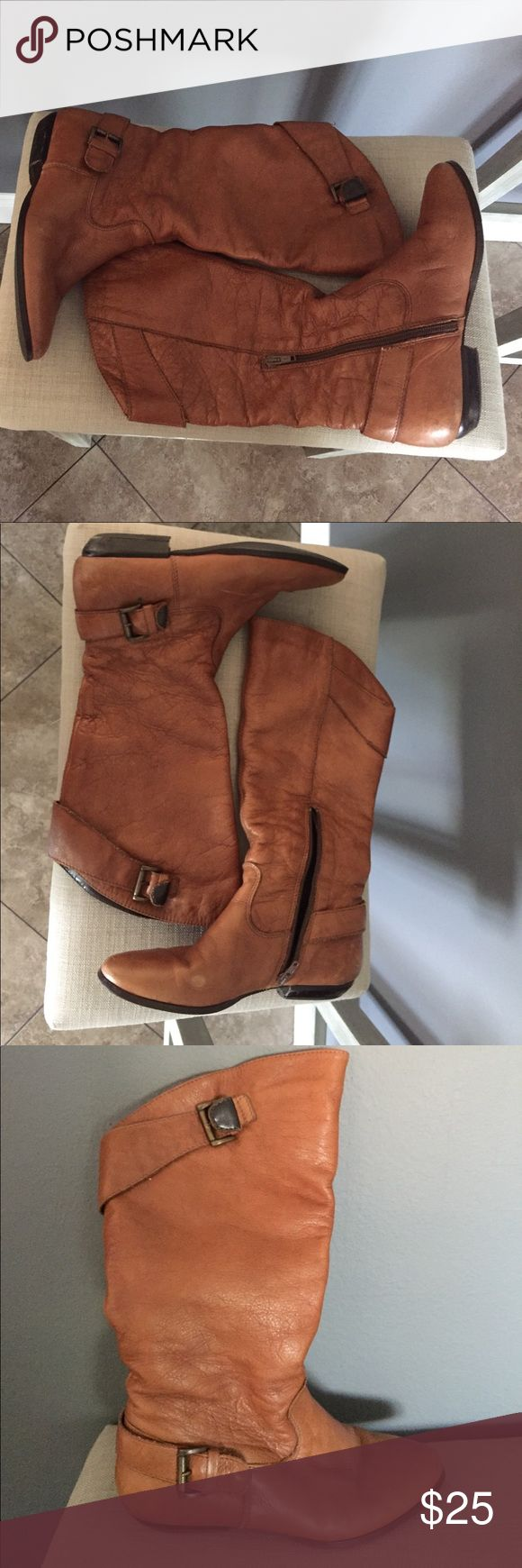 Faux Leather Brown Aldo Boots Used brown ALDO boots. Bottom of shoe show a size 36, but they fit me perfectly and I'm a US size 6.5. Aldo Shoes Ankle Boots & Booties