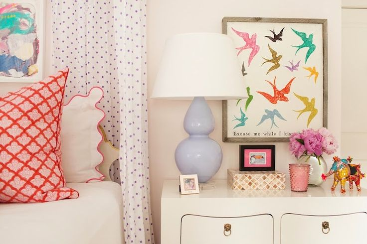 Pretty girls bedroom.  Lots of patterns.  (Sugarboo designs)