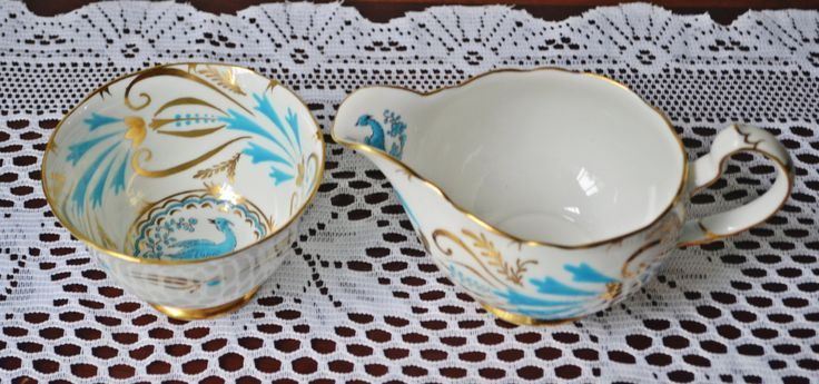 Royal Chelsea Large Cream And Sugar, Bird Of Paradise, Blue Bird by Collectitorium on Etsy