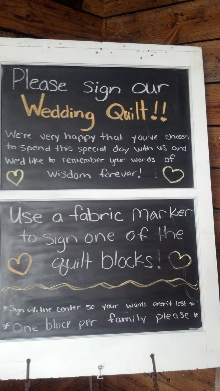 bridal shower keepsake book%0A Instead of a guest book the couple had quilting squares for guests to sign   Then