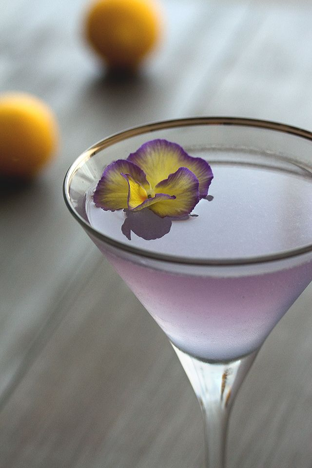 Aviation - Gin, Maraschino, Lemon Juice, Crème de Violette, Edible Violet. #DrinkDiva