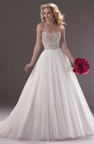 "Bridal Gowns: Maggie Sottero Princess/Ball Gown Wedding Dress with Sweetheart Neckline and Natural Waist Waistline ""Esme"""