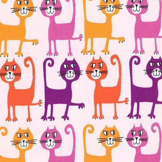 Michael Miller Pets A Plenty Dancing Cats Coral fabric  1
