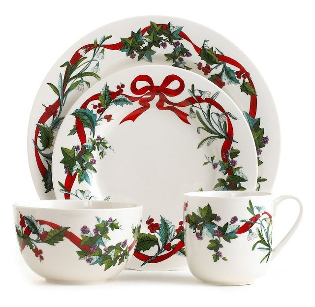 Martha Stewart Dinnerware in Porcelain This Martha Stewart Holiday Garden 4-piece place setting for one is decorated with graceful boughs of holly and vibrant red ribbons. Whether you are having guests from out-of-town, serving a special Christmas breakfast or using this place setting for your Christmas dinner, this 4-piece place setting will set the tone for any festive occasion.