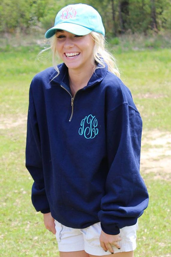 Monogram Quarter Zip Jackets by DashForward on Etsy/adult large/ navy/font color #7/comment RHN