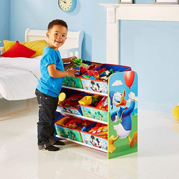 mickey mouse regal zur spielzeugaufbewahrung mit sechs. Black Bedroom Furniture Sets. Home Design Ideas