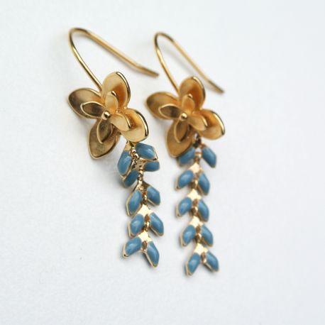 Boucles d'oreilles dorées épi gris attache fleur